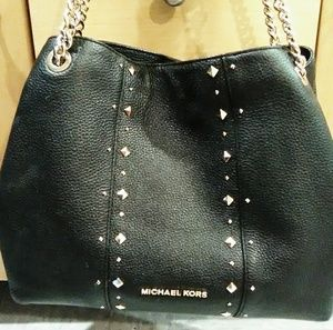 Michael Kors black leather gold chainlink bag